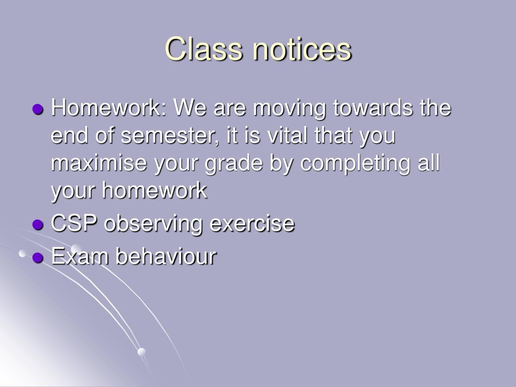 Class notices
