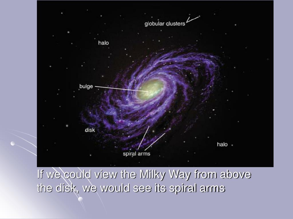 If we could view the Milky Way from above the disk, we would see its spiral arms