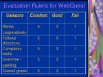 evaluation rubric for webquest