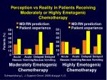 perception vs reality in patients receiving moderately or highly emetogenic chemotherapy
