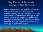 key pieces of research impact on self concept