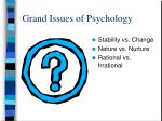 grand issues of psychology