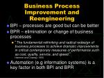 business process improvement and reengineering