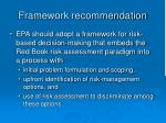 framework recommendation