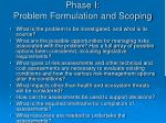 phase i problem formulation and scoping