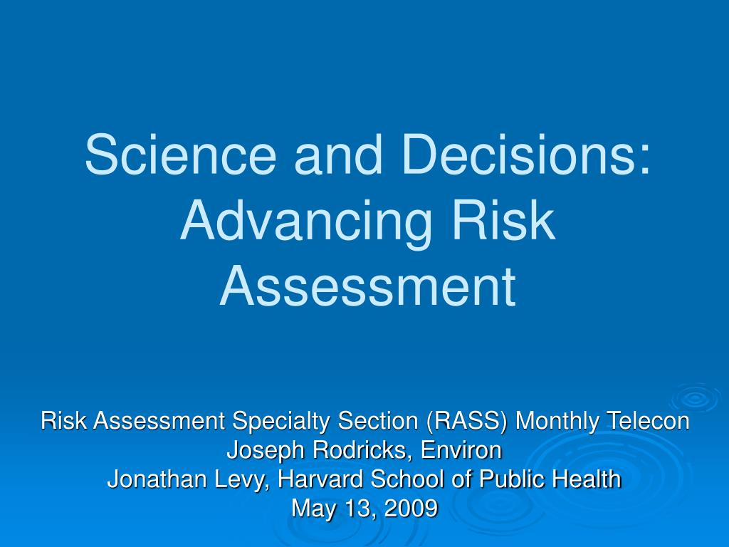 science and decisions advancing risk assessment l.