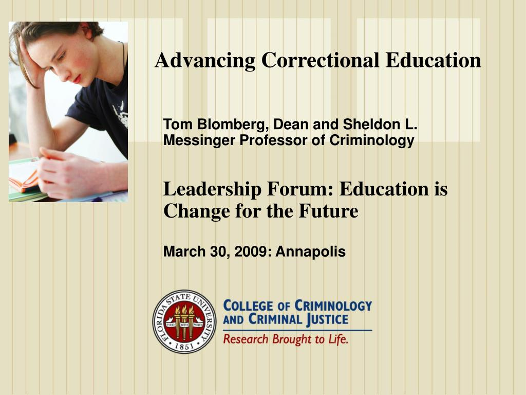 Advancing Correctional Education