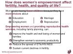 how does women s empowerment affect fertility health and quality of life