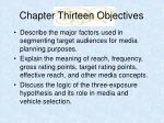 chapter thirteen objectives