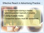 effective reach in advertising practice