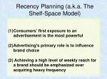 recency planning a k a the shelf space model