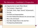 the interview candidate s perspective