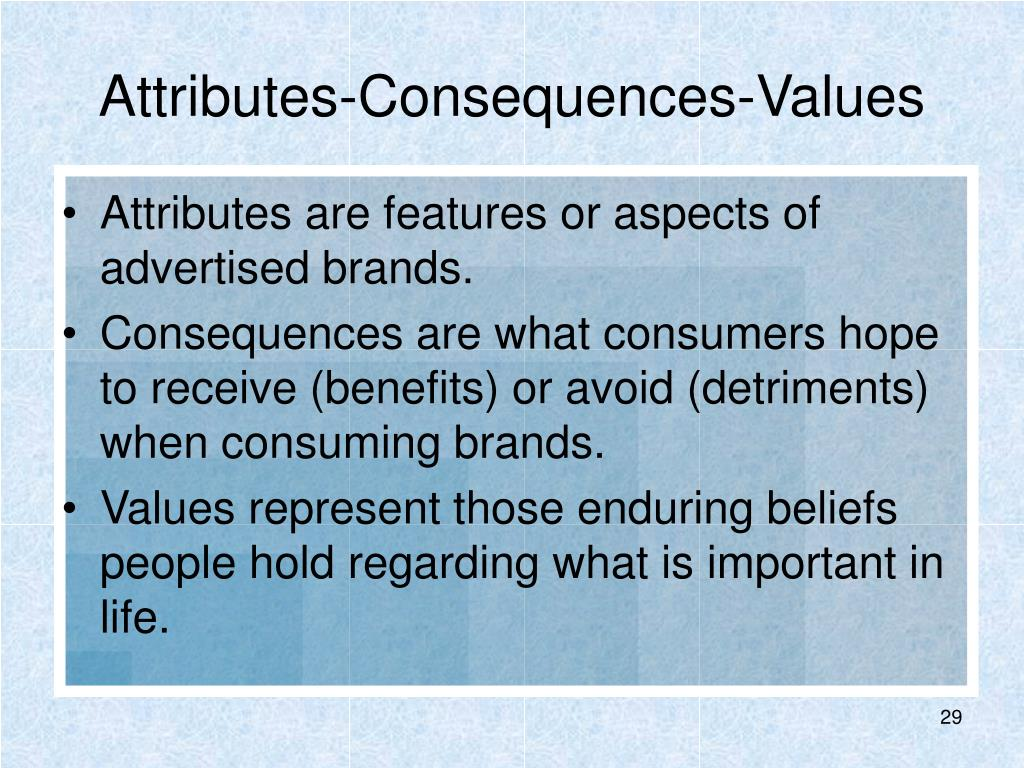 Attributes-Consequences-Values