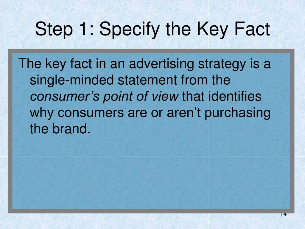 Step 1: Specify the Key Fact