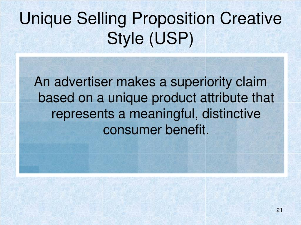 Unique Selling Proposition Creative Style (USP)
