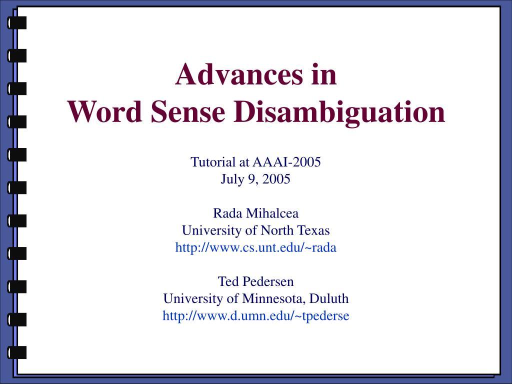 advances in word sense disambiguation l.
