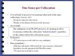 one sense per collocation