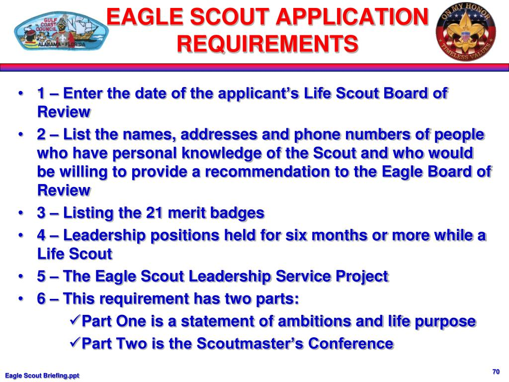 1 – Enter the date of the applicant's Life Scout Board of Review