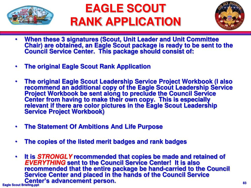 When these 3 signatures (Scout, Unit Leader and Unit Committee Chair) are obtained, an Eagle Scout package is ready to be sent to the Council Service Center.  This package should consist of: