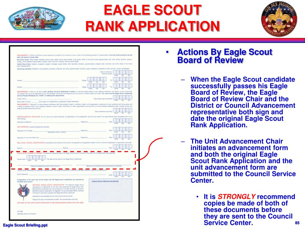 Actions By Eagle Scout Board of Review