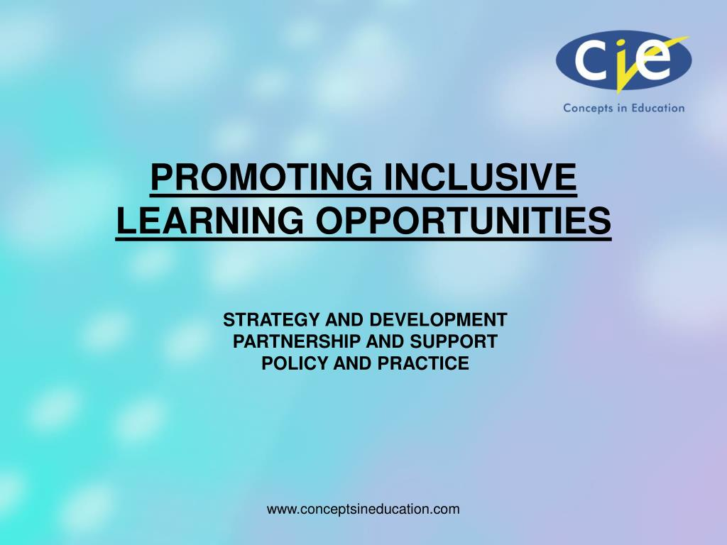 promoting inclusive learning opportunities l.