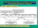 applying the value chain to cost analysis the case of automobile manufacture continued21