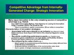 competitive advantage from internally generated change strategic innovation