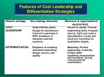 features of cost leadership and differentiation strategies