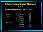 advancement exam changes cont d8