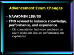 advancement exam changes4