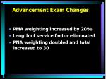 advancement exam changes6
