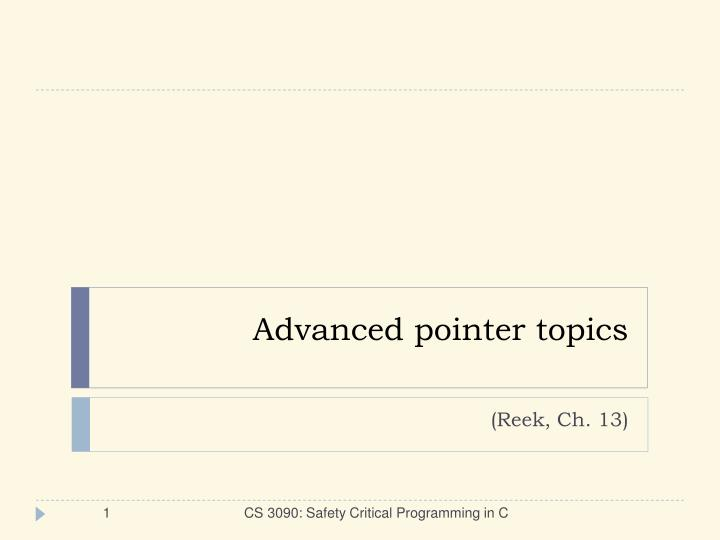 advanced pointer topics n.