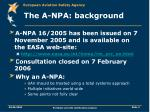 the a npa background