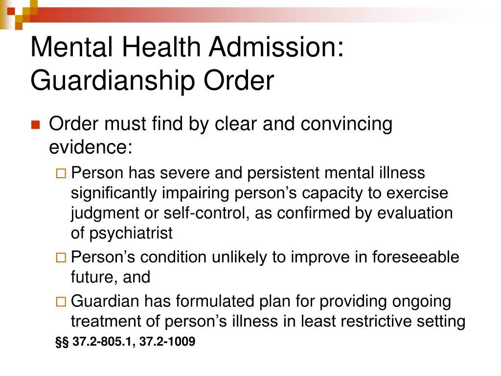 Mental Health Admission: Guardianship Order