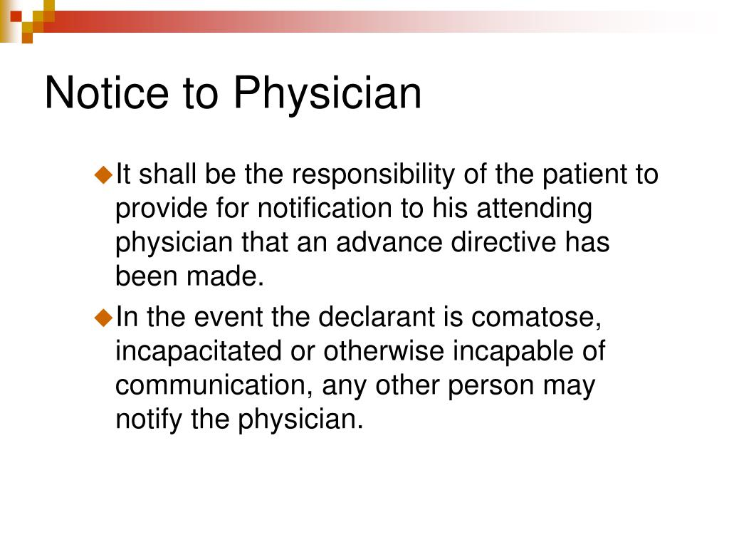 Notice to Physician
