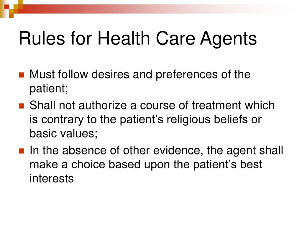 Rules for Health Care Agents