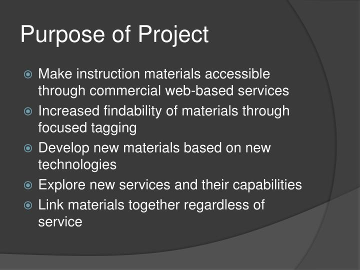 Purpose of Project