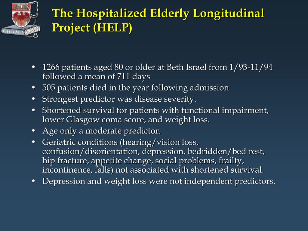 The Hospitalized Elderly Longitudinal Project (HELP)