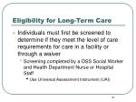eligibility for long term care