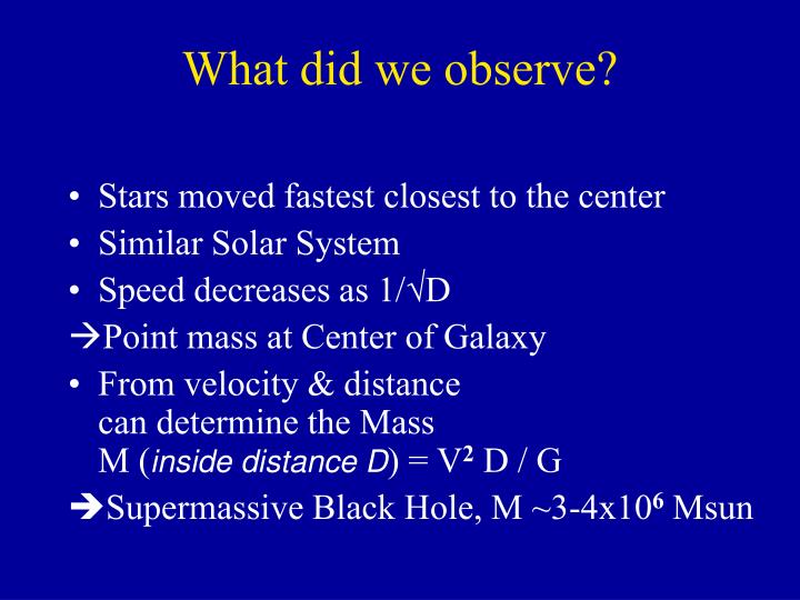 What did we observe?