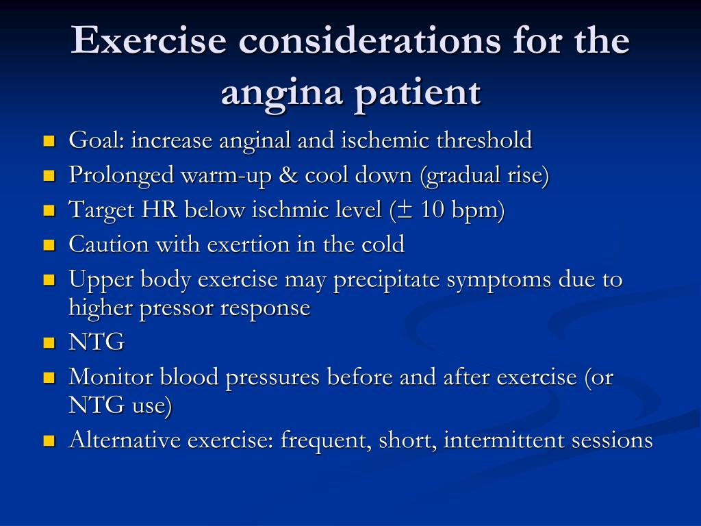 Exercise considerations for the angina patient