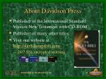 about davidson press