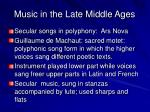 music in the late middle ages