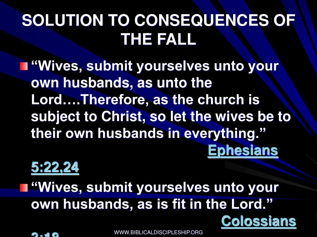 SOLUTION TO CONSEQUENCES OF THE FALL