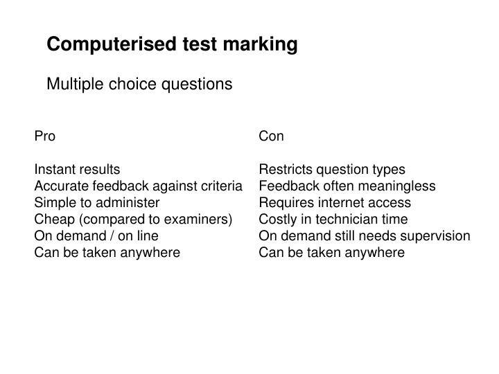 Computerised test marking
