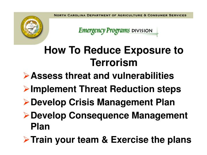 How to reduce exposure to terrorism