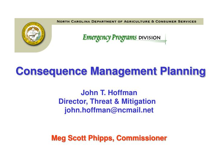 Consequence Management Planning