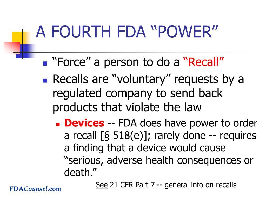 """A FOURTH FDA """"POWER"""""""