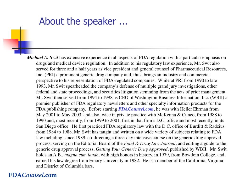 About the speaker ...