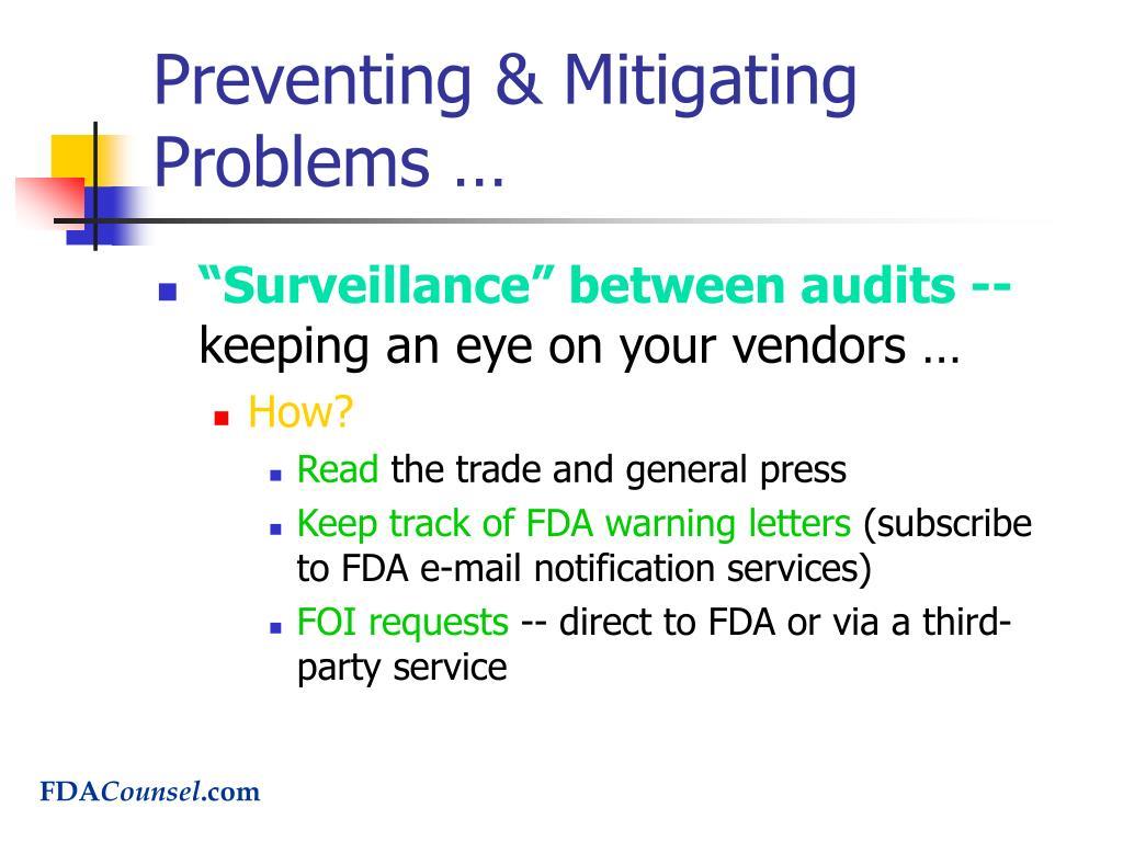 Preventing & Mitigating Problems …